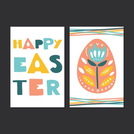 Vector set of Easter cards with rabbit, chicken, holiday lettering, eggs, flowers, basket.