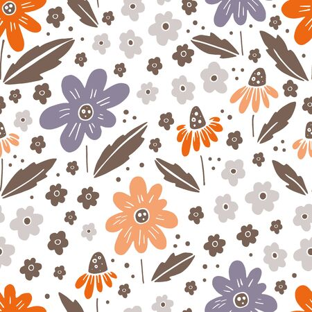 Hand drawn surface pattern design with flowers in garden