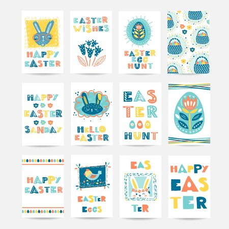 Vector set of six Easter cards with rabbit, holiday lettering, eggs, flowers, basket.