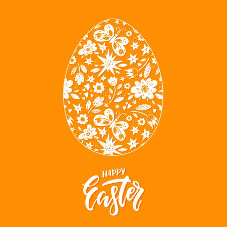 Vector Easter greeting card with egg, flowers, lettering and butterflies.