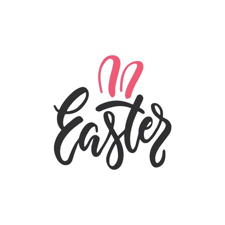 Vector set of hand written Easter phrase .Greeting card text templates