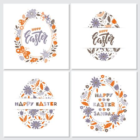 Vector Easter greeting card with egg, flowers, lettering, butterflies and butterflies 向量圖像
