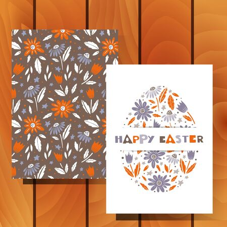 Vector set of Easter greeting cards and pattern on wood background.