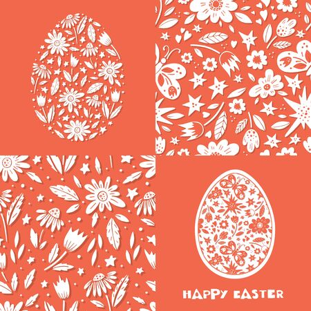 Vector set of Easter greeting cards and seamless pattern.