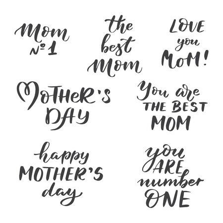 Vector set of hand lettering mother's day isolated on white background. Perfect for greeting cards and bunners