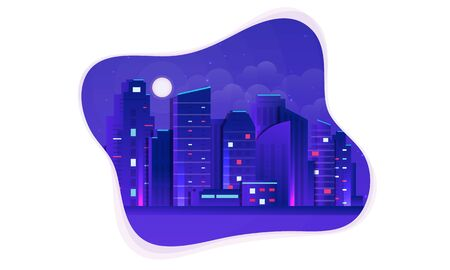Vector Futuristic Night city illustration. Dark urban scape. Night cityscape with bright and glowing neon purple and blue lights, abstract background