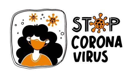 Covid-19 illustrations. Stop Coronavirus concept. Girl in mask.
