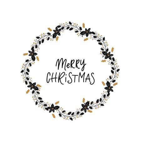 Christmas wreath on white background, winter door decoration
