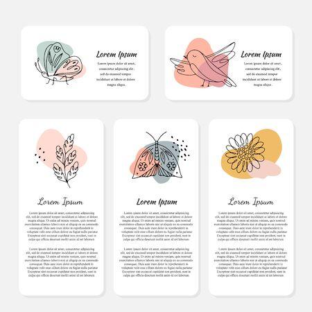 Vektor-Frühlingskarten mit Blumen, Insekten, Vögeln und Text. Strichzeichnungen, Frühlingsdesign