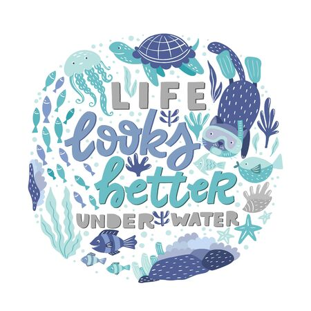 Poster with hand lettering and ocean creatures - fish, cat snorkeling, turtles, jellyfish, corals, seaweed 向量圖像