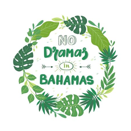 Summer greeting card with palm, monstera, tropical leaves and lettering