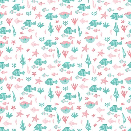 Seamless pattern. Hand drawn elements fishes, starfish, seaweed, corals