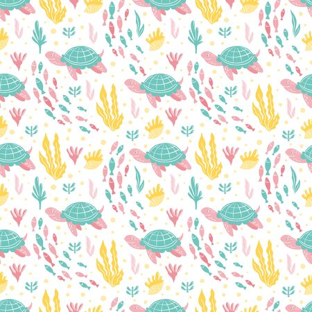 Seamless patterns with ocean creatures - fish, turtles, corals, seaweed.