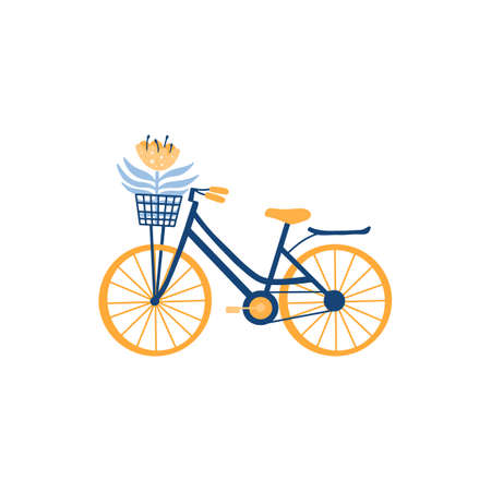 Vector flat illustration of bicycle isolated on white. Bike with front wicker basket and flower