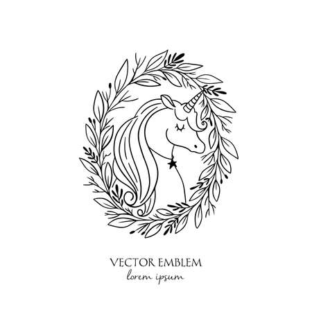 Vector Unicorn in wreath. Magical animal. Black and white. Coloring book pages for adults and kids. Perfect for ticket, branding, boutique logo, label