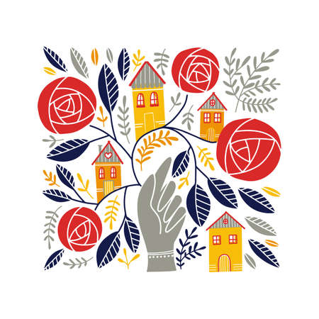 Vector Folk art ornament with hand, houses, and rose flowers, Scandinavian design, floral composition. Swedish and Norwegian motives