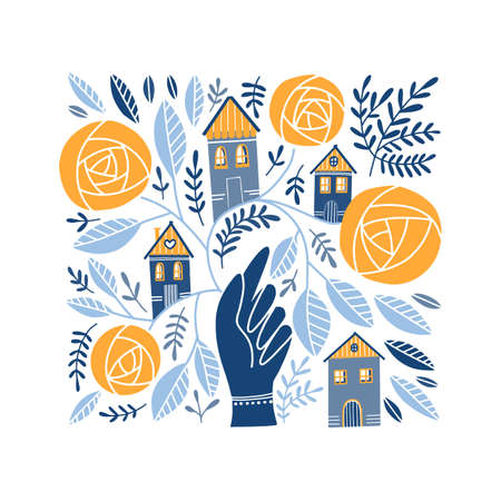 Vector Folk art ornament with hand, houses, and rose flowers, Scandinavian design , floral composition. Swedish and Norwegian motives
