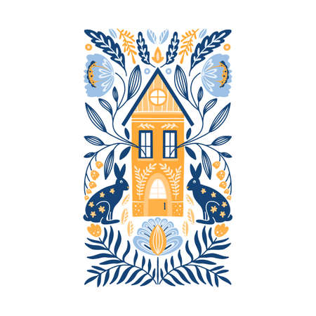 Vector Folk art ornament with house, rabbits, and flowers, Scandinavian design, floral composition. Swedish and Norwegian motives