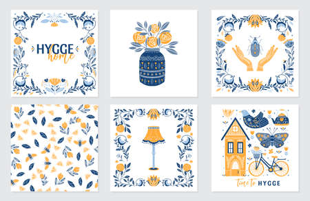 Vector set of greeting cards in Scandinavian, Nordic and Folk art style with hygge elements and quotes