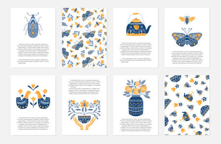 Vector set of greeting cards in Scandinavian, Nordic and Folk art style with hygge elements and text