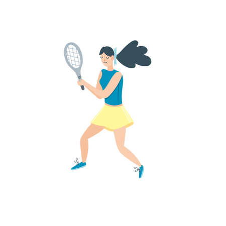 Vector woman playing tennis. Sportswoman holding rackets and hitting ball isolated on white background. Flat cartoon r illustration. Outdoor activity