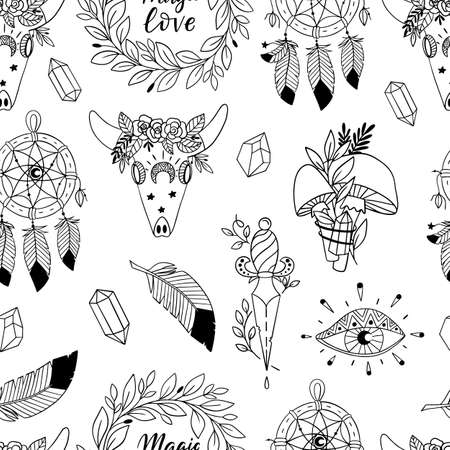 Vector seamless pattern with magic and witchcraft elements. Wild magic style design. Great for surface design and coloring books.