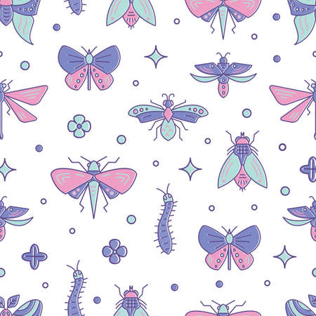 Vector seamless pattern with bugs and insects in line style