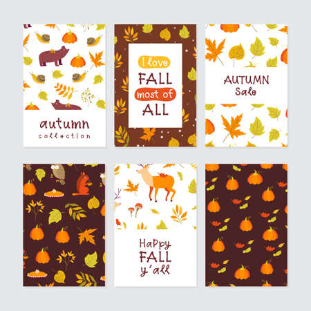 Vector set of Autumn greeting cards with pumpkin, forest animals, maple, oak, aspen leaves and lettering. Perfect template for holidays