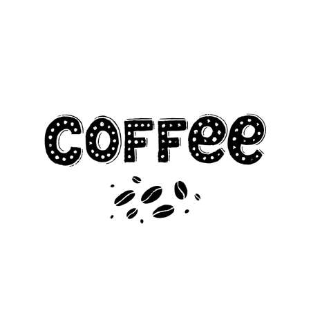 Vector background Coffee lettering in vintage style with coffee beans. Coffee sign isolated on white background.  イラスト・ベクター素材