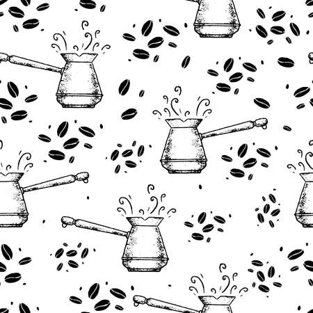 Vector seamless pattern with cezves and coffee beans on white background.