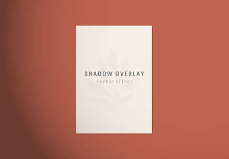 Vector shadow overlay effects on white papers. Branding and mockup presentations. Natural sun lighting and shadow. Window frames overlays shadows Çizim