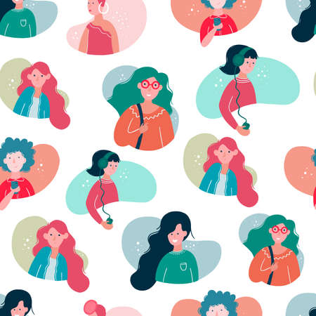 Vector seamless pattern with girl avatars, different women type, young women in cartoon style isolated on white background. 矢量图像
