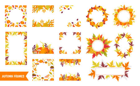 Vector big set of Autumn frames, wreath and borders with pumpkins and autumn leaves on white background. Autumn forest Thanksgiving day Perfect for holiday invitations and greeting card Ilustración de vector