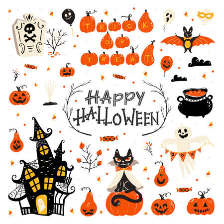 Halloween design elements . Halloween cliparts with traditional symbols