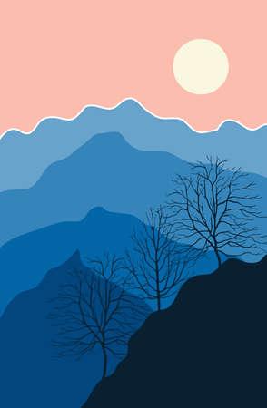 Abstract landscape illustration Minimalist style Abstract image