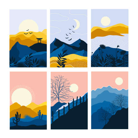 Abstract landscape set Minimalist style Abstract image