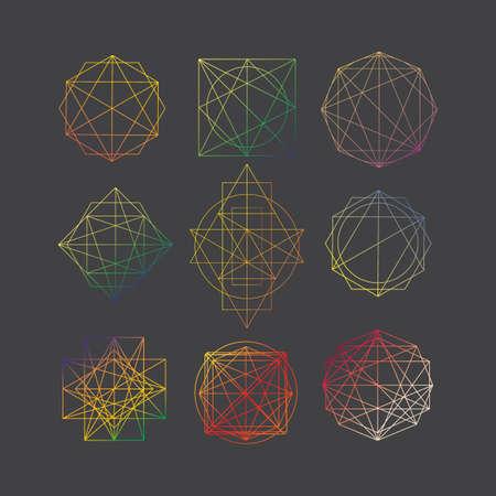 Outline collection with pink diamonds Gems set Vektorové ilustrace