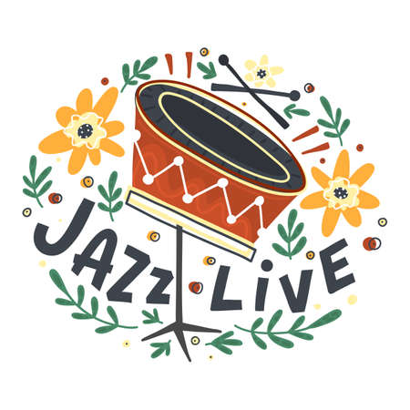 Jazz festival poster template. Lettering and floral decoration