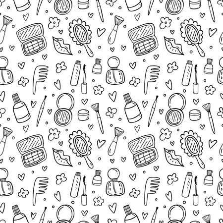 Hand drawn seamless pattern with makeup products. Cosmetics.