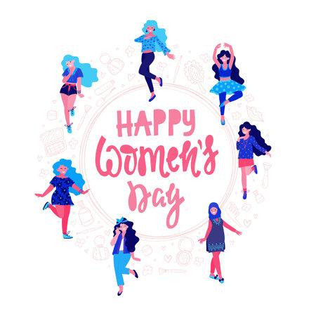 Happy womens day illustration. Beautiful dancing women