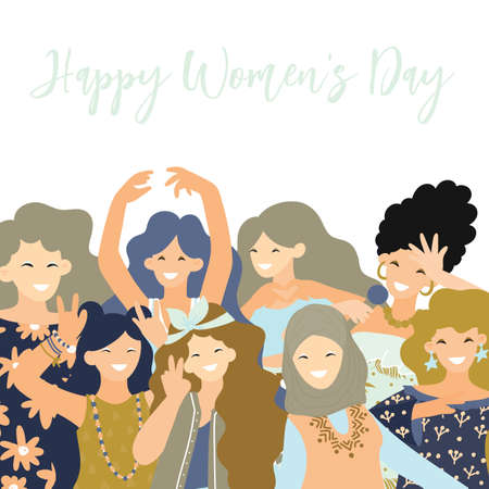 International Womens Day. Vector greeting card. Cute woman