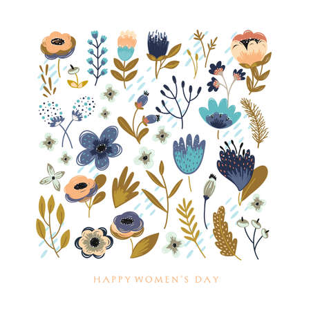 Happy Womens Day greeting card illustration. 8 march.