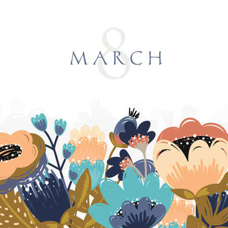 International Womens Day greeting card illusttation. 8 march.