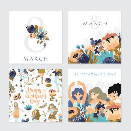 Set of illusttation. 8 march, International Womens Day. 向量圖像