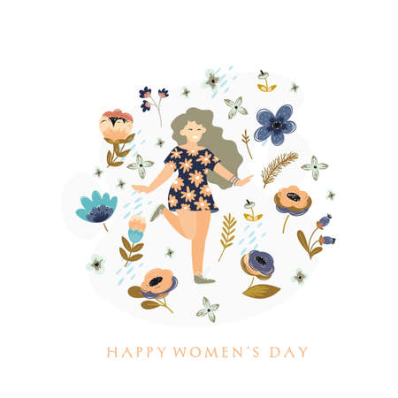 8 march. International Womens Day. Vector template with flowers and woman 向量圖像