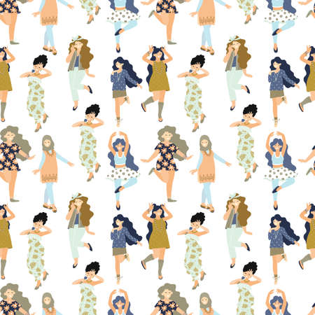 Seamless pattern with different dancing women. 8 march. International Womens Day