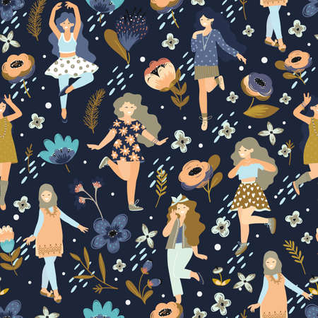 Seamless pattern with different dancing women. 8 march.