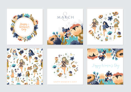 Set of illusttation. 8 march, International Womens Day