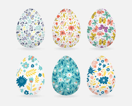 Easter greeting card with decorative eggs and hand lettering 版權商用圖片