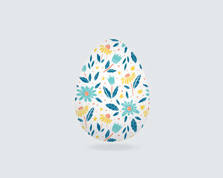 Easter greeting card with decorative egg on background